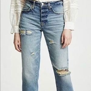 Free People high rise ripped boyfriend jeans
